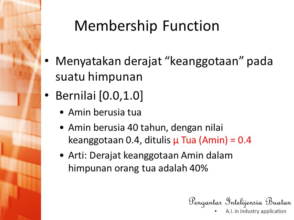 Membership Function Menyatakan derajat keanggotaan pada suatu himpunan. Bernilai [0.0,1.0] Amin berusia tua.